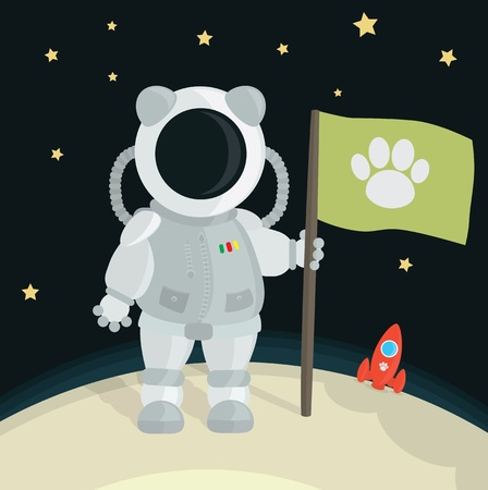 Cat Astronaut Planting Flag On The Moon Stock Vector - 10770138