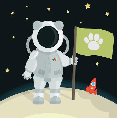 astronauta: Gato astronauta plantar bandera en la Luna Vectores