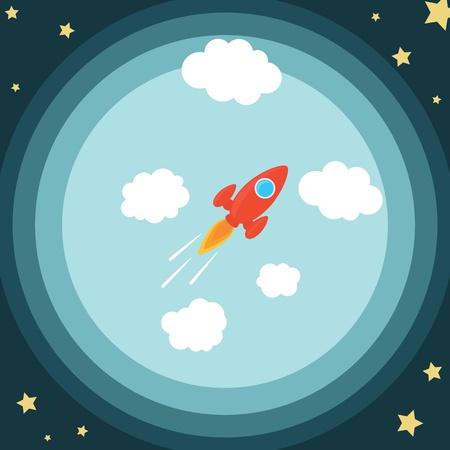 Cartoon Rocket Ship Blasting Into The Space