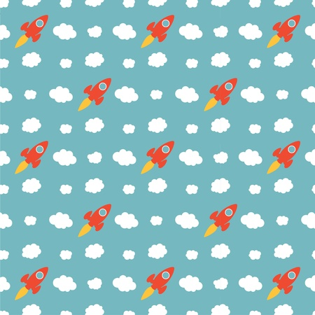 Seamless Cartoon Rocket Ship Pattern Background Vector