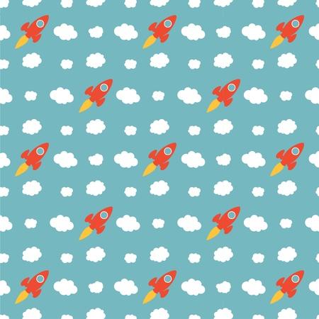 Seamless Cartoon Rocket Ship Pattern Background Vector