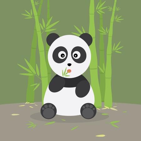 �  giant panda: Panda comiendo hojas en el bosque de bamb� Vectores