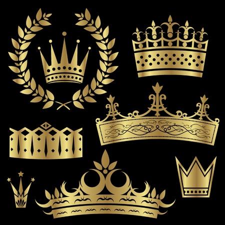 diadema: Conjunto de coronas de oro y hojas de laurel Vectores