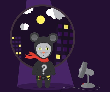 Super  Cat In Mouse Suit Over Night City Background Vector