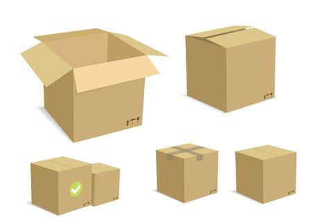 Cardboard Carton Vector Illustration Set  Ilustração