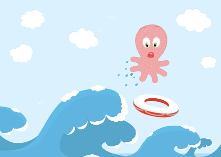 Octopus Jumping Over The Ocean Wave Vector
