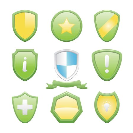Glossy Shield Icons Set With Symbols Vector