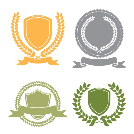 Shields With Banner  And Laurel Leaf Wreath Set Vector