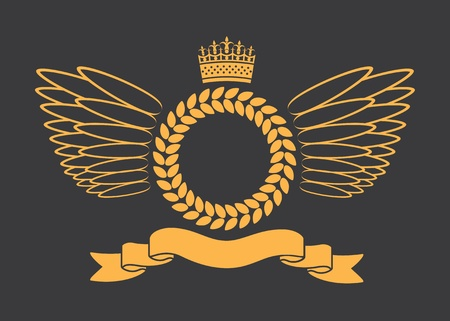 Laurel Wreath With Crown Banner And Wings