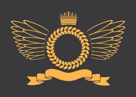 laurel leaf: Laurel Wreath With Crown Banner And Wings