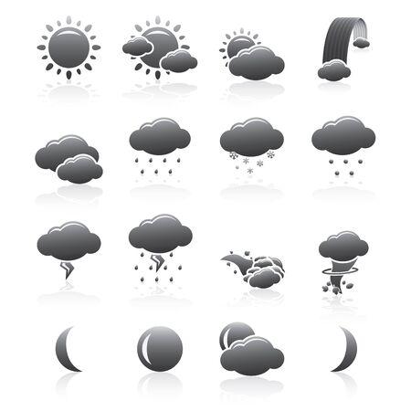 Weather Icons Set Of Natural Phenomenons Silhouette Series Ilustração
