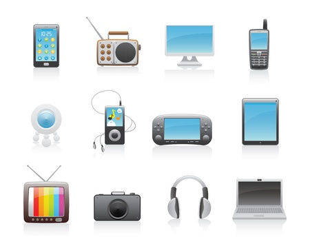 mobilephone: Glossy Media Icons Set Illustration