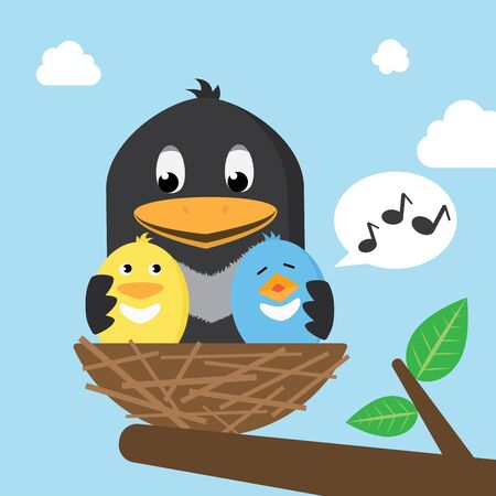 Happy Birds Family In The Nest Giving Hug Vector