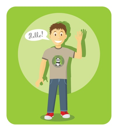 Smiling Boy Saying Hello And Showing Greeting Gesture Stock Vector - 13294576
