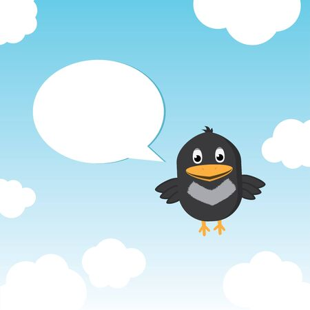 Funny Bird Twitting In The Sky Full Of Clouds Stock Vector - 13294570