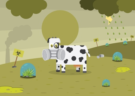 Sad Cow In Polluted Environment Vector