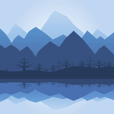 mountainside: Mountain Silhouette With Lake Reflection Illustration