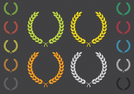laurel leaf: Laurel Leaf Wreath Colored Set Illustration