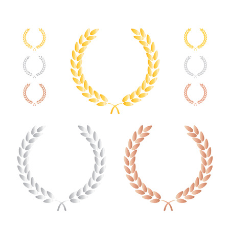 laurel leaf: Laurel Leaf Wreath Precious Metal Set Illustration