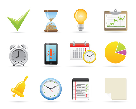 Time Management Icons Set Vector