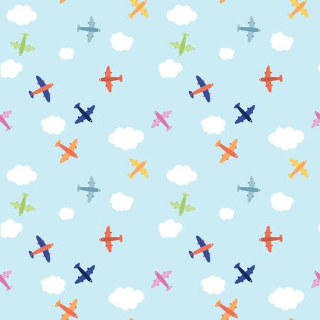 Seamless Airplane  Over The Clouds Pattern Background Ilustração