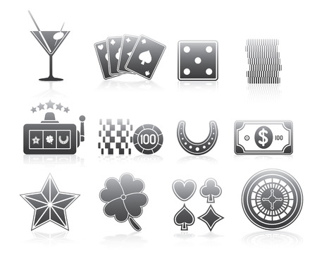 rouleau: Gambling Silhouette Series Icons For Your Application Or Web Site Illustration