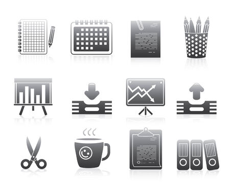 web site: Office Silhouette Series Icons Set For Application Or Web Site Illustration