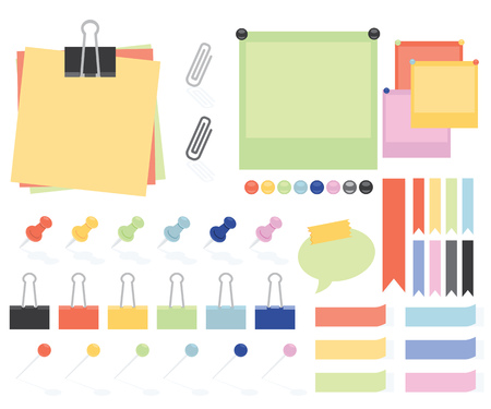 straight pin: Flat Style Paper Notes And Stickers Set