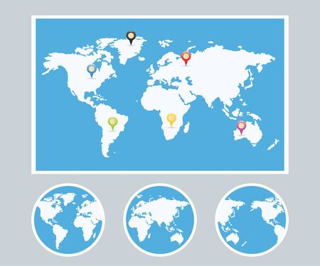 physical geography: World Map Infographic Style Set