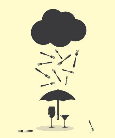 raining: Raining Like Fork Kitchen Cutlery Rain Illustration