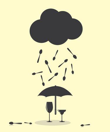 raining: Raining Like Spoon Kitchen Cutlery Concept Illustration