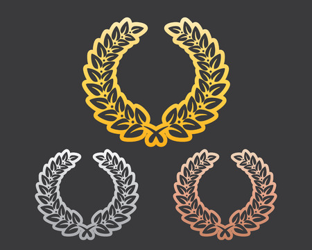 precious metal: Precious Metal Laurel Leaf Silhouette Set Illustration