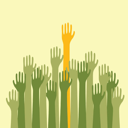voting hands: Voting Hands Raised Up High Silhouette Illustration