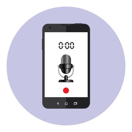 voice recorder: Voice Data Recorder Mobile Application Illustration
