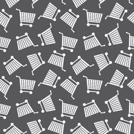 e retailers: Seamless Shopping Cart Pattern Monochrome Background Texture