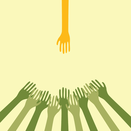 outstretched: Hand Of Help Outstretched To The Crowd