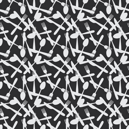 silverware: Seamless Kitchen Cutlery Silverware Pattern Background
