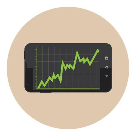 stock broker: Mobile Stock Exchange Online Terminal Illustration
