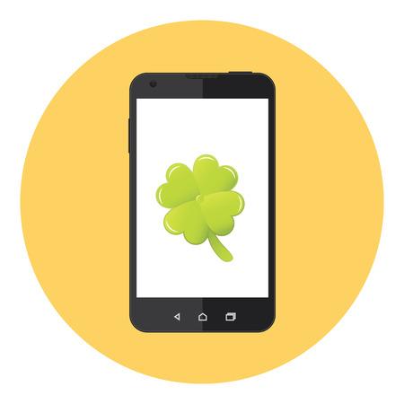 lucky clover: Mobile Lucky Clover Leaf Saint Patrick Day Illustration