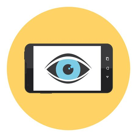 Mobile Phone With Eye Symbol On The Screen Stock Illustratie