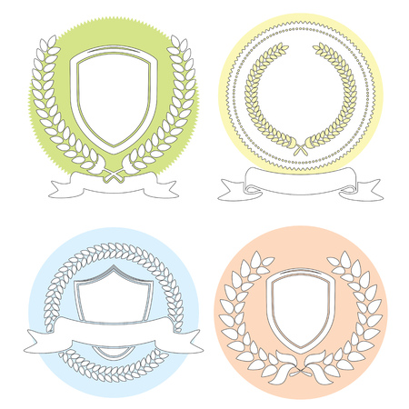 laurel leaf: Laurel Leaf Wreath And Shields Outline Set