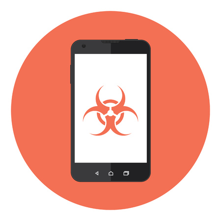biohazard sign: Mobile Phone With Biohazard Sign On The Screen Illustration