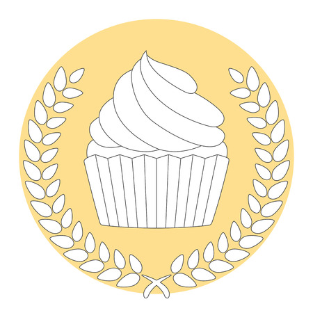 laurel leaf: Laurel Leaf Wreath With Cupcake Award Sign
