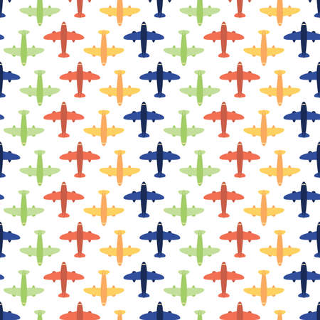 commercial airline: Seamless Airplane Travel And Tourism Pattern Background