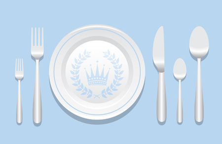 formal place setting: Plate And Silverware Layout With Laurel Wreath Over
