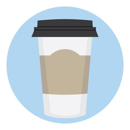 lable: Coffee Paper Disposable Cup With Empty Lable Illustration