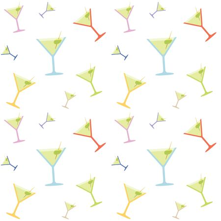 coctail: Seamless Martini Coctail Party Glass Colorful Pattern