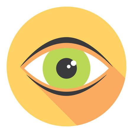 eye closeup: Human Eye Closeup View Flat Style Icon Illustration