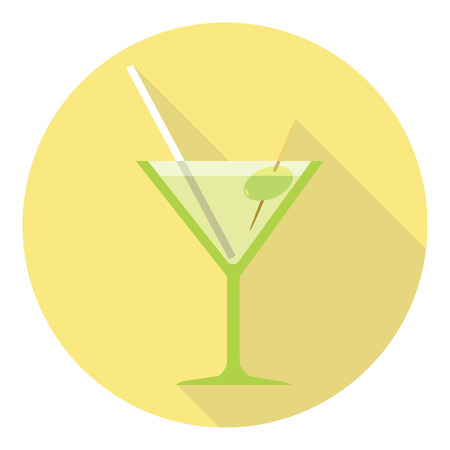 shots alcohol: Martini Glass With Olive And Drinking Straw