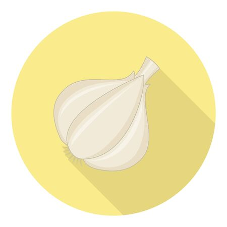 condiment: Garlic Plant Condiment For Cooking Flat Design Illustration